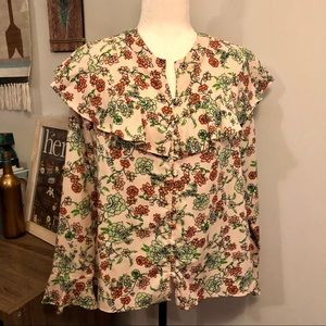 [Red Camel] Floral and Ruffle Blouse